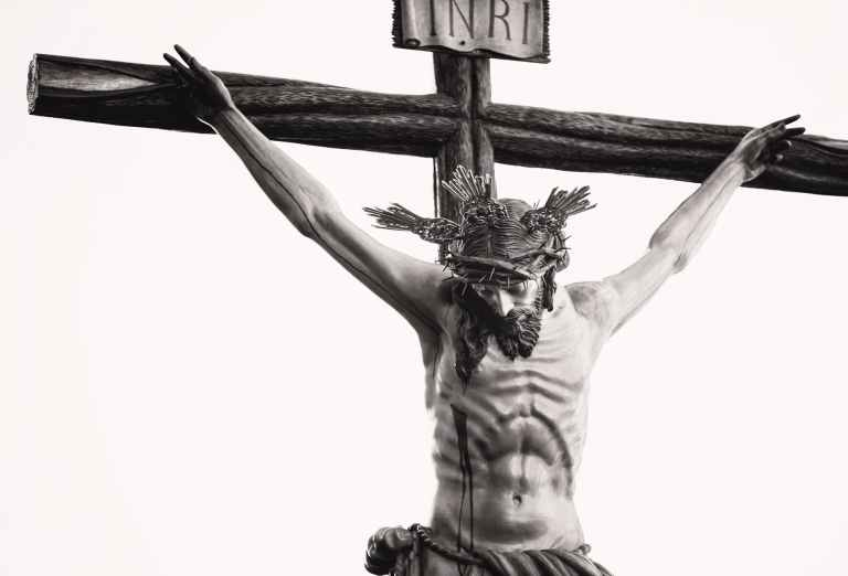 grayscale photo of the crucifix